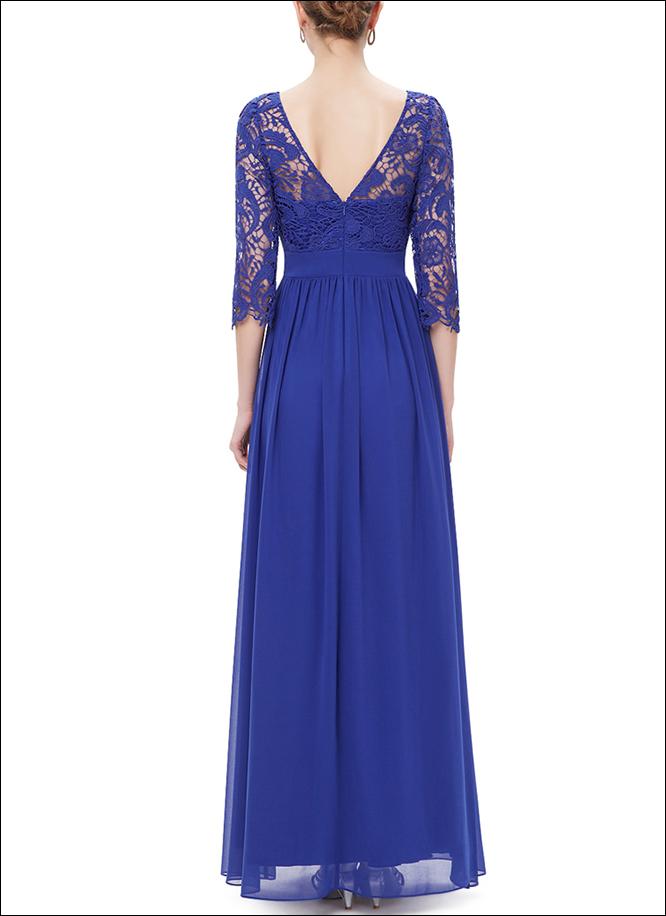 Blaues Abendkleid aus Spitze mit 3/4 Ärmeln - LAFANTA