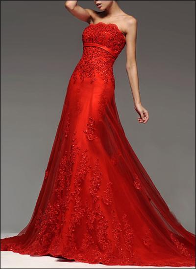 Rotes Brautkleid WD930