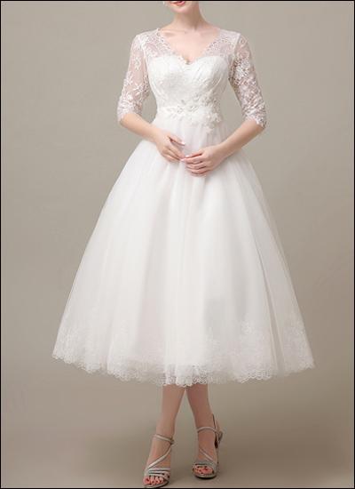 50er Jahre Brautkleid mit Spitzenärmeln WD121