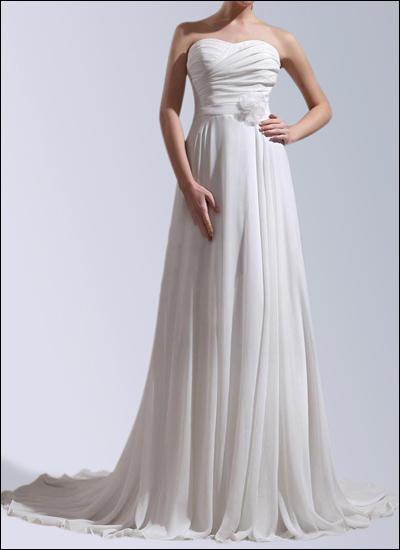 Brautkleid aus Chiffon mit Knopfleiste und Schleppe WD127