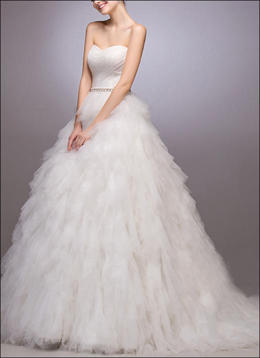 Brautkleid mit Stufen Volants WD167