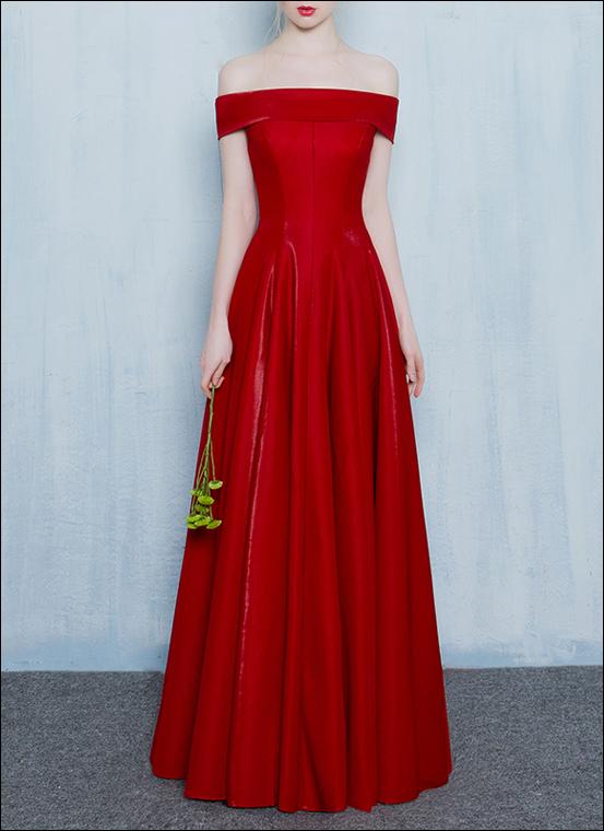Rotes Abendkleid Tanzkleid mit Carmen Ausschnitt - LAFANTA