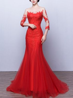 Sexy Mermaid Abendkleid in Rot