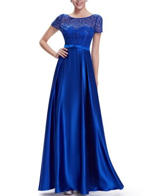 Elegantes Satin Abendkleid Royalblau