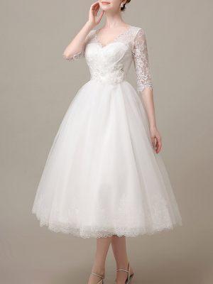 50er Jahre Brautkleid mit Ärmeln