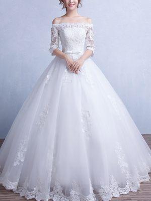 Princess Brautkleid mit Carmen Ausschnitt