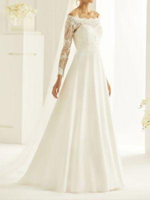 A-Linie Chiffon Brautkleid mit langen Ärmeln