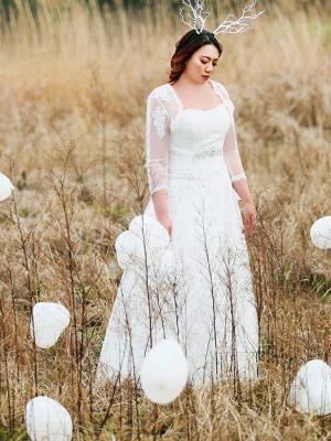 Korsage Brautkleid mit Ärmeln