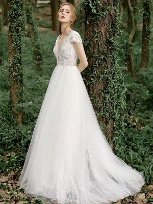Boho Brautkleid mit Ärmelchen