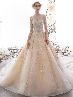 Schimmerndes Prinzessinnen Brautkleid