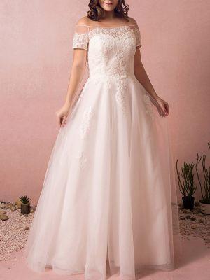 Plus Size Brautkleid mit Carmen Ausschnitt