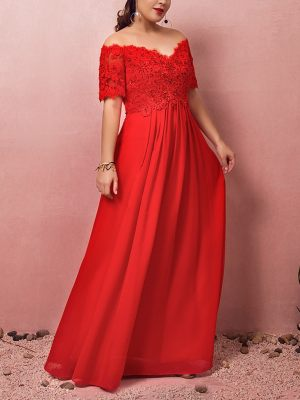 Empire-Brautkleid-Rot